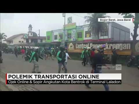 Ojek Online & Sopir Angkot Bentrok di Terminal Laladon, Bogor