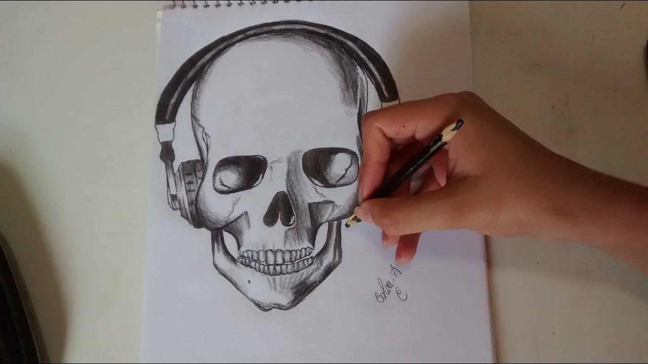 Como Desenhar Uma Caveira Com Fone De Ouvido How To Draw A Skull