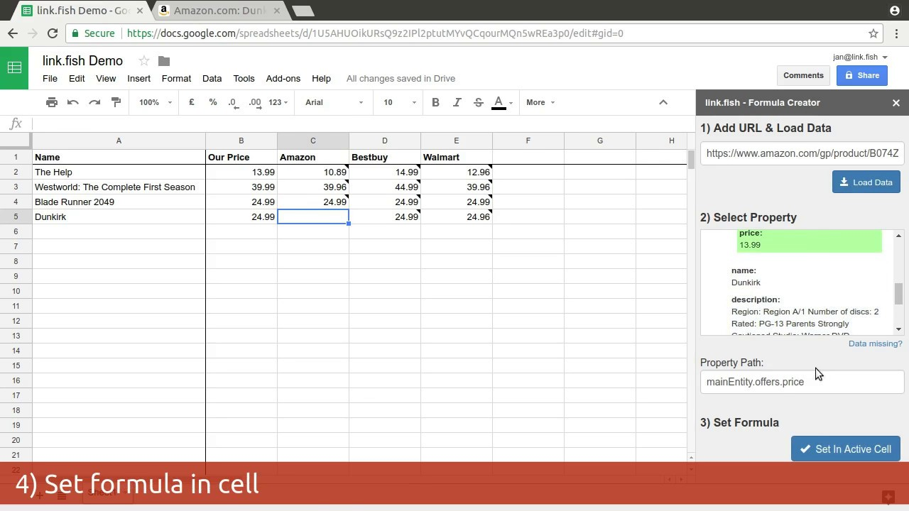 link fish - Web Scraping with Google Spreadsheet