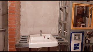 Столешница под раковину, обшивка инсталляции для унитаза, ревизионный люк. Ванная ч.2