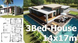 Video Sketchup 3 bedroom Exterior House Design 14x17m from Blueprint Plan download MP3, 3GP, MP4, WEBM, AVI, FLV Desember 2017