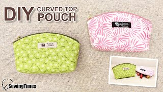 DIY CURVED TOP POUCH | Cute Makeup Bag Tutorial & Sewing Pattern [sewingtimes]