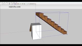 Sketchup 3-D Drawing – How to Draw Stairway With Landing