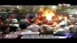 Polisi Terbakar Hidup hidup Saat Amankan Aksi Unjuk Rasa di Cianjur
