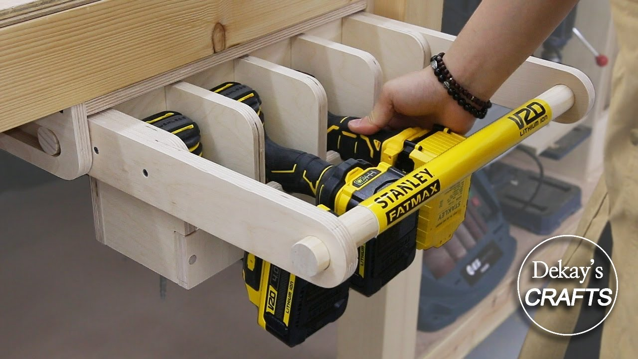woodworking power tool station idea! / sliding hidden tool rack  / plywood / stanley fatmax v20