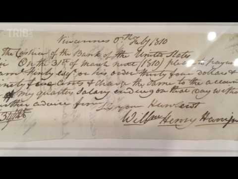 Historical checks on display at Carnegie library