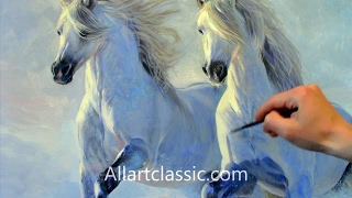 Painting Horses Running in Deep Snow-Entire Painting Process