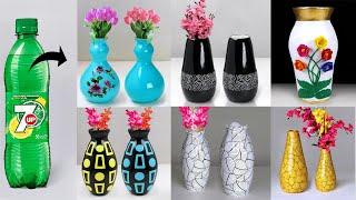 Plastic bottle flower vase making - Paper flower vase    प्लास्टिक की बोतल फूल फूलदान बना रही है