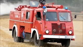 PRL998 - Babcia w akcji//Pożar 50ha zboża i lasu w Luszynie - przejazdy wozów bojowych 04.08.17