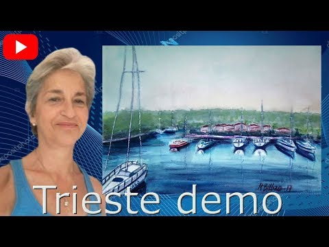 How to paint the  boats .Trieste watercolor painting demo by Mar Bilbao Art