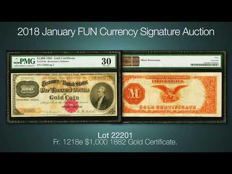 Fr. 1218e $1,000 1882 Gold Certificate.