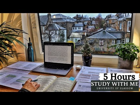5 HOUR STUDY WITH ME | Background noise, 10-min break, No Music, Study with Merve