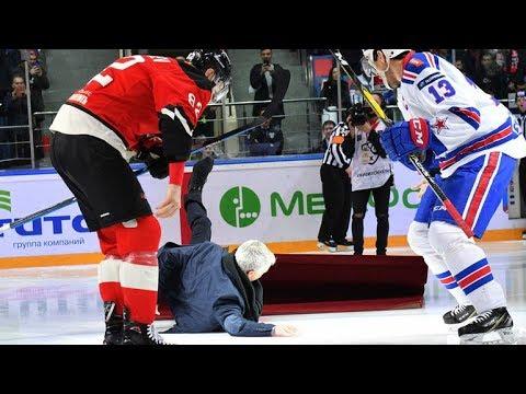 Jose Mourinho fell on the ice before KHL hockey game/Падение Жозе Моуринью на лед перед матчем КХЛ