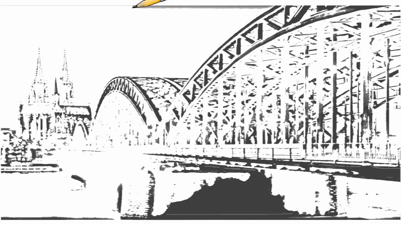 Auto Draw 2: Cathedral And Hohenzollern Bridge At Night