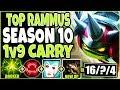 TOP RAMMUS SEASON 10 SOLO 1v9 CARRY! MOST DMG &1150+ARMOR! LoL Rammus S10 Gameplay League Of Legends