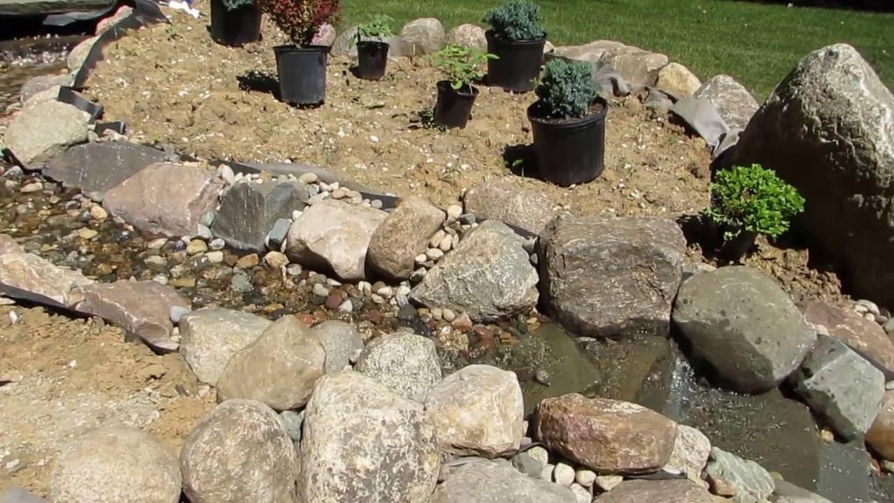 backyard stream into pond youtube