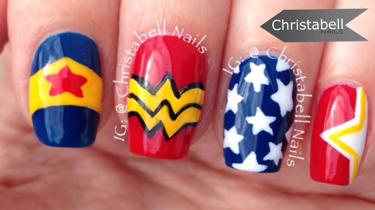 ChristabellNails Wonder Woman Nail Art Tutorial - YouTube
