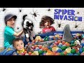 OREO in the SHARK BALL PIT in our SPIDER BASEMENT! FUNnel Fam Ink Vision