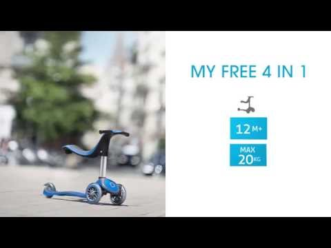 Каталка самокат y scoo rt globber my free new technology seat 4 in 1 blue