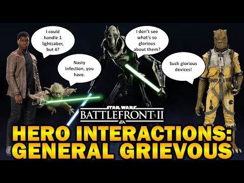 POTENTIAL HERO INTERACTIONS GENERAL GRIEVOUS! Star Wars Battlefront 2 thumbnail