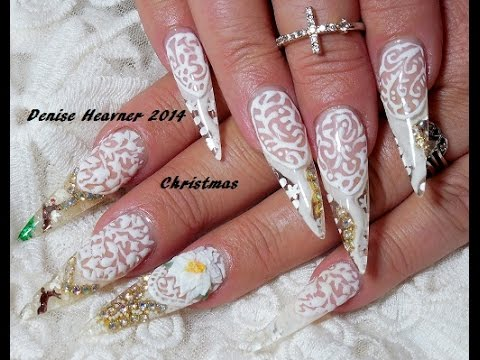 SNOW GLOBE NAILS ** STILETTO GEL nails ** NEW Wintery Christmas ...