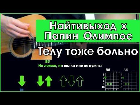 Найтивыход х Папин Олимпос - Телу тоже больно | Разбор песни на гитаре | Аккорды и бой