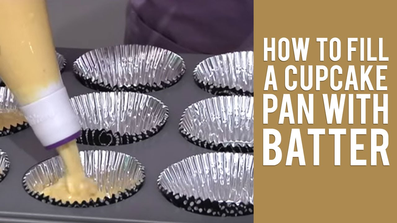 how to fill a cupcake pan with batter youtube. Black Bedroom Furniture Sets. Home Design Ideas