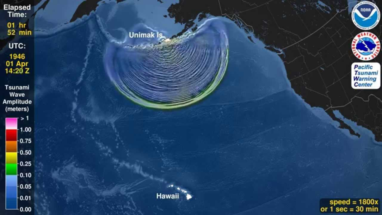 Tsunami Animation: Unimak Island, Aleutian Islands, 1946 ...