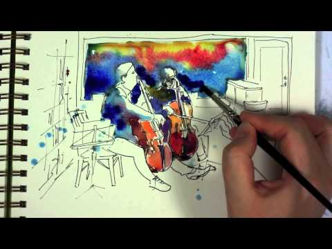 Watercolor and Ink Sketch Painting Demo