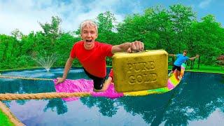LAST TO FALL Duct Tape Bridge Opens MYSTERY NEIGHBOR TREASURE BOX!! (Backyard Pond Challenge)