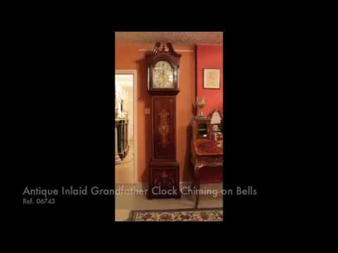 Antique Inlaid Grandfather Clock Chiming on Bells