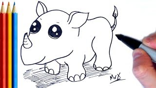 How to Draw Rhino - Step by Step Tutorial For Kids