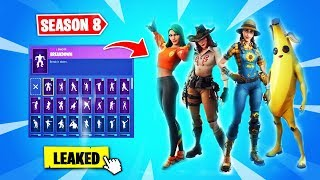 *NEW* LEAKED SEASON 8 FORTNITE SKINS & EMOTES! (Kpop, Ikonik, Dragon, Boxer)