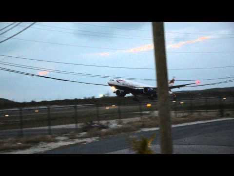 British Airways 777 taking off from Providenciales