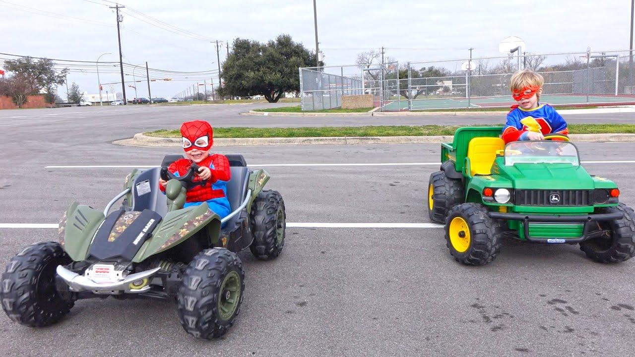 power wheels race spiderman vs the flash kids car race youtube