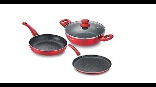 Prestige Omega Deluxe Metallica Luminous BYK Aluminium Cookware Set, 3-Pieces, Red