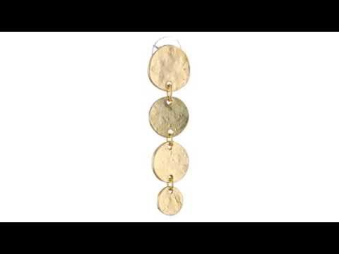 Kenneth Jay Lane Gold Tone Four Coin Drop Earrings  SKU:8572339