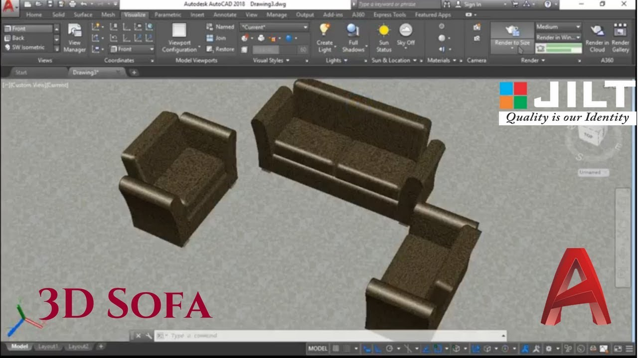 Sofa 3D Model in Autocad 2018 Exercise - 3