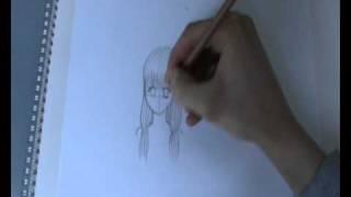Drawing manga, speed drawing