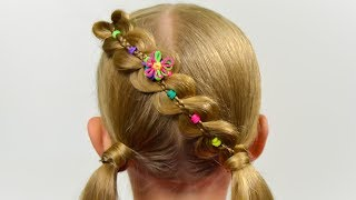 Rainbow braid - chain with elastics  🌈 Hair Tutorial. Quick and Easy hairstyle for little girl #55