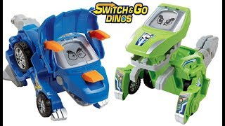 VTECH SWITCH & GO DINOS SURPRISE 2 PACK TRANSFORMING DINOS, SLIVER THE T REX, HORNS THE TRICERATOPS