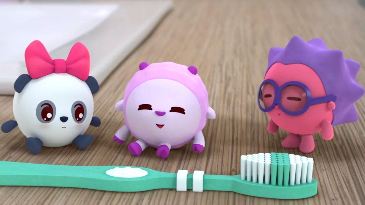 Малышарики - Щётка. Чистим зубы (Серия 84) Песенка про зубки