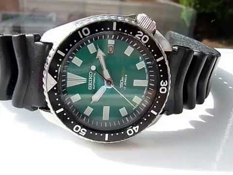 f9c18df93 SEIKO 7002 7000 GREEN DIAL MOD MEN'S AUTOMATIC DIVERS WATCH - YouTube