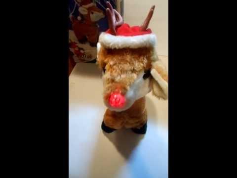 Vintage animated Walking Musical Christmas Plush Reindeer Rudolph red nose