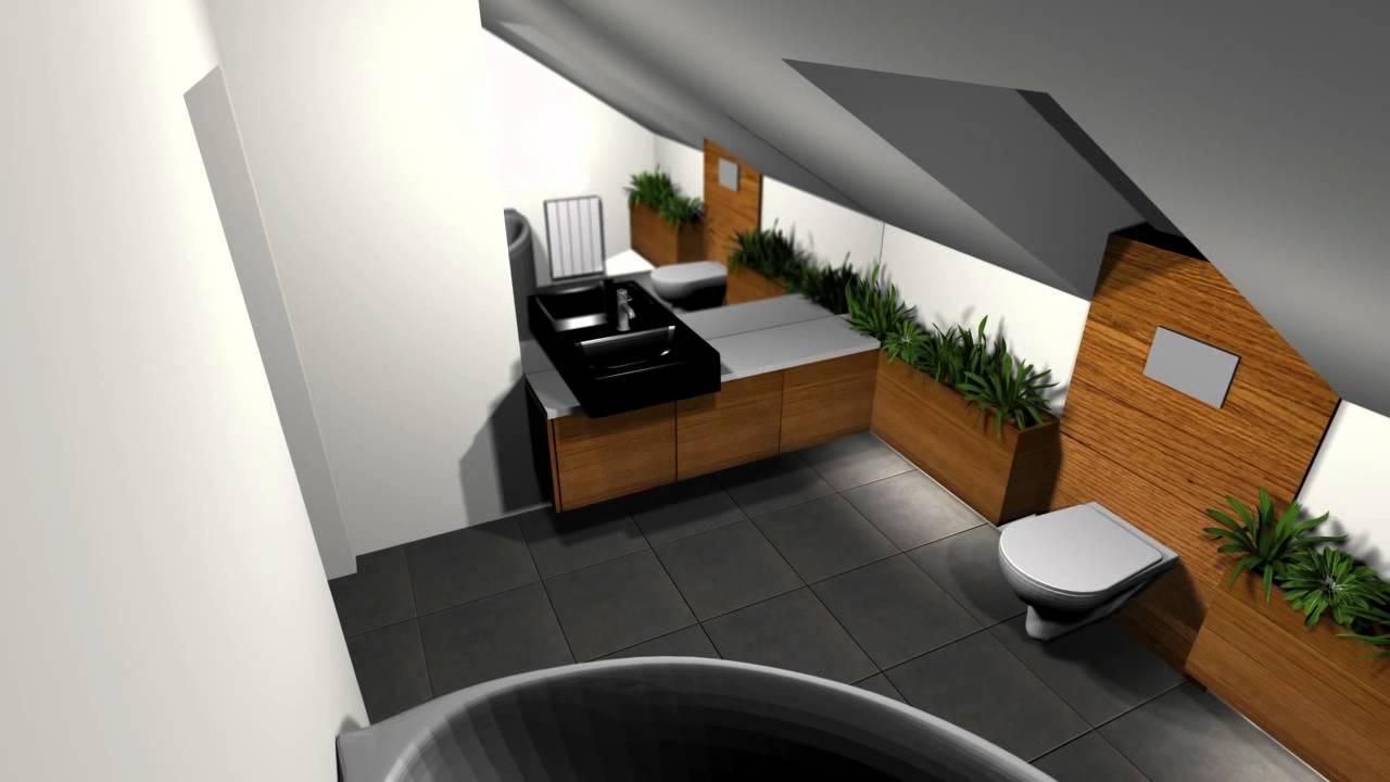 Projekt łazienki Na Poddaszu 3d