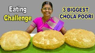 குண்டு குண்டு சோளா பூரி | 3 CHOLA POORI EATING CHALLENGE | CHOLE BHATURA | EN SOTHU URUNDAI