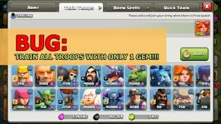 Clash of clans bug: Training all troops with only 1 gem