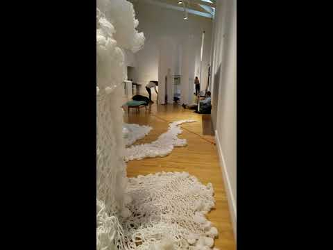 "Eleng Luluan-安聖惠 is working on her ""Between Dreams"" for Rewoven exhibition at QCC Art Gallery/CUNY"