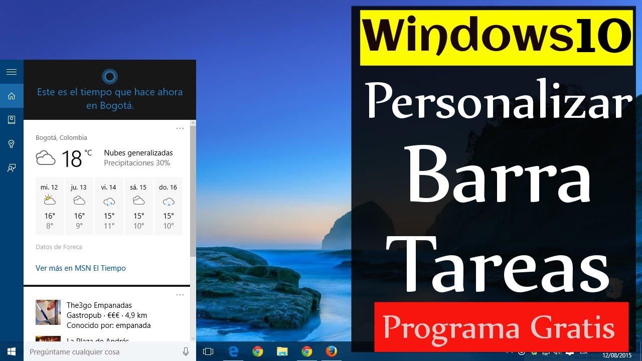 b7fe9d52b5c Windows 10 Pro | Personalizar La BARRA de tareas | Control TOTAL - YouTube