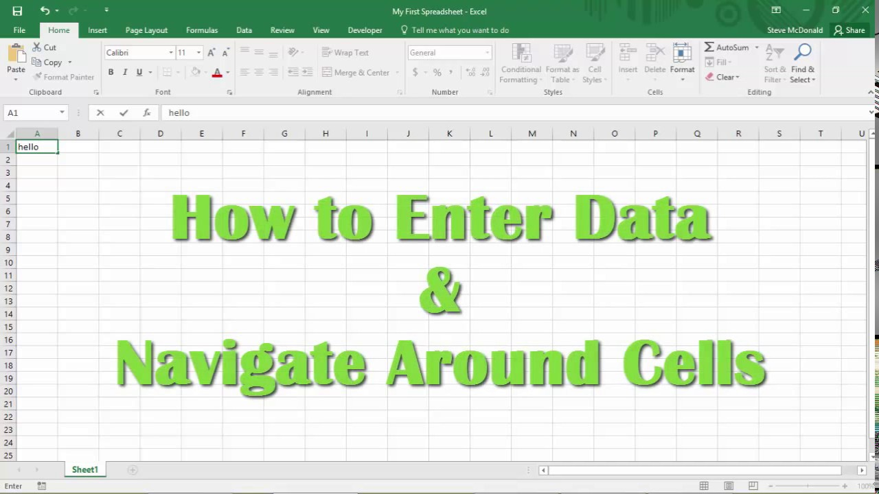 Excel Tutorial - How to Enter Data in Excel and Navigate Cells in ...